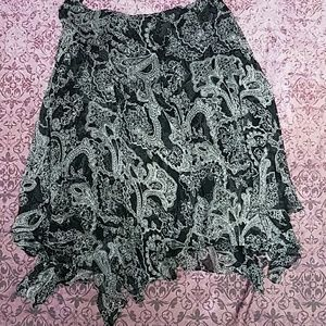 Cute patterned ruffle silk skirt